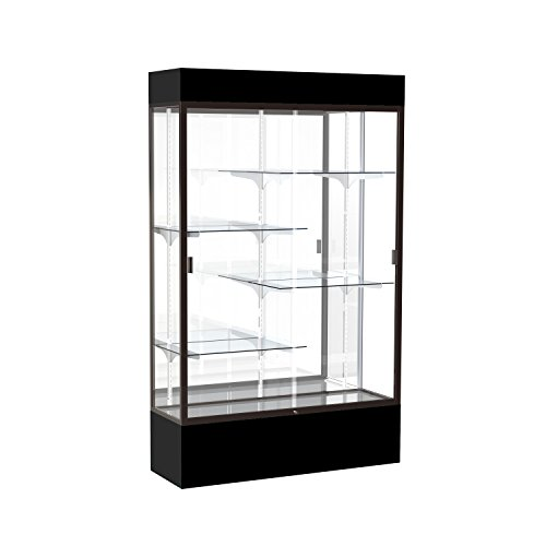 (Waddell Spirit Lighted Floor Display case, 48 inches Wide, Black)