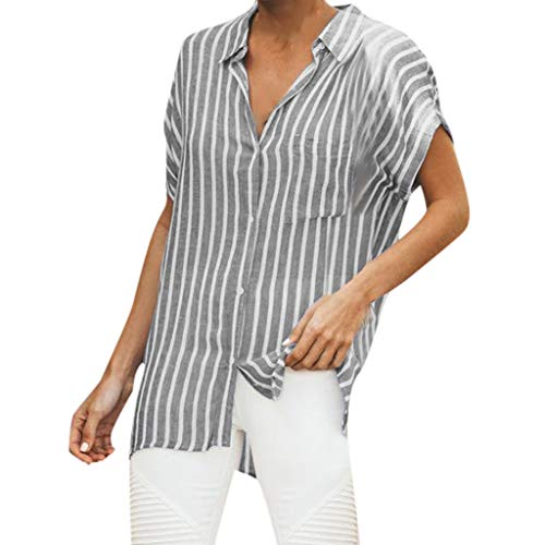 HYIRI Women's Casual Stripe Print Trendy Buttons Pocket Blouse Top T Shirt Gray ()