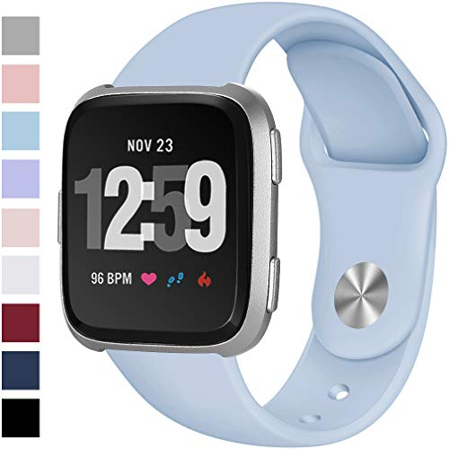Hamile Bands Compatible for Fitbit Versa & Fitbit Versa Lite, Silicone Replacement Band Straps for Fitbit Versa Smart Watch, Small, Light Blue