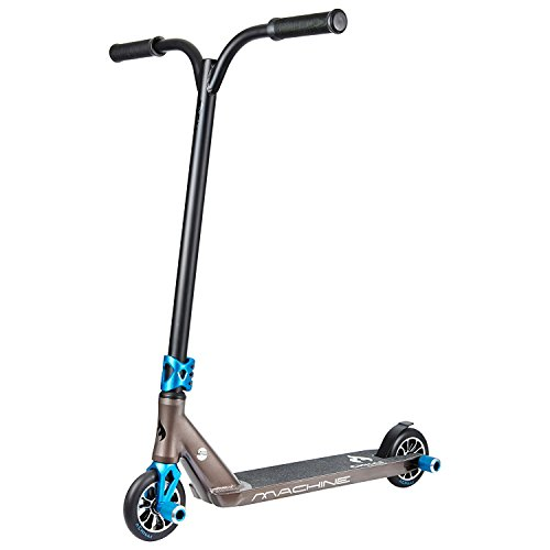Chilli Machine Complete Park Scooter - Black and Blue - Freestyle Stunt Scooter with pegs for kids, teens, adults - Aluminum Deck and Fork, 4130 Chromoly T Bar, 3-Bolt Clamp, 120mm Urethane Wheels
