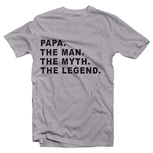 Todays Sale on Papa The Man The Myth The Legend T Shirt is A Great Gift for Birthdays and Fathers Day (2X, Athletic Grey)