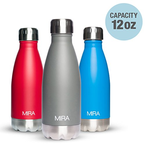 Vacuum Insulated Water Bottle | Double Walled Stainless Steel Cola Shape Travel Water Bottle - BPA Free, Keeps Your Drink Hot & Cold | by MIRA (Ruby Red, 12 oz (350ml)) (Cool Gray)
