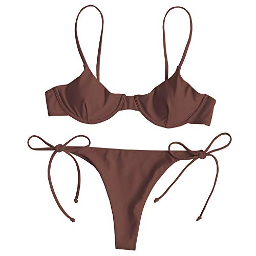 ZAFUL Women's Underwire Push Up Balconette Tie Side String Bikini Set Swimsuit (Rosy Finch, - Underwire Bikinis Bikini All Sexy