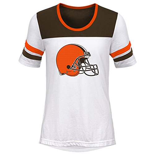 Outerstuff NFL NFL Cleveland Browns Youth Girls Tail Back Short Sleeve Tee White, Youth X-Large(16)