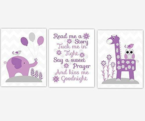 Baby Girl Nursery Wall Art Purple Elephant Giraffe Safari Jungle Zoo Animals Read Me A Story Baby Nursery Decor 3 UNFRAMED PRINTS