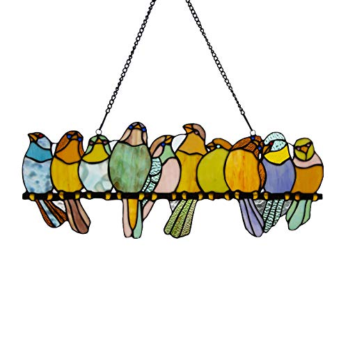 Medium Stained Glass - River of Goods  Bird Suncatcher: Stained Glass Birds on a Wire Hanging Sun Catcher Window Panels