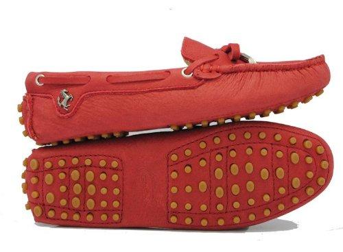 Minishion Meisjes Dames Nubuck Leren Slip-on Mode Casual Mocassins Flats Loafers Drijfschoenen Rood-leer