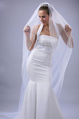 Bridal Veil Ivory 1 Tier Cathedral Length Edge With Beads And Crystals by Velvet Bridal (Image #3)