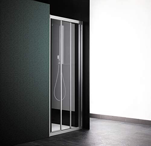Cabina de ducha con puerta corredera, 3 puertas, 91 cm, cristal transparente, perfil de aluminio blanco (extensible 85-91): Amazon.es: Bricolaje y herramientas