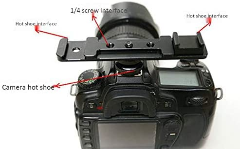 Semoic Hot Shoe Extension Bar Mount Cold Shoe Extension Flash Bracket Dual Straight Mount Flash Bracket Fits DSLR Camera Camcorder Dv