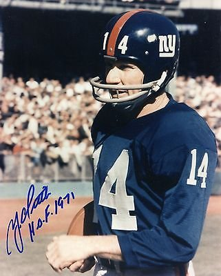 (YA TITTLE HAND SIGNED 8x10 PHOTO+COA HOF 1971 INSCRIPTION NEW YORK GIANTS)