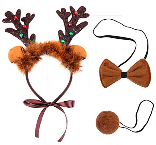 Reindeer Costume for Dogs,Christmas Dog Reindeer Antlers Headband Tail and Pet Bow Tie Collar - http://coolthings.us