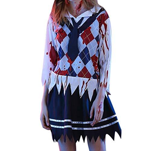 PEIZH Women Cosplay Costume Suit Skirt School Uniform Halloween Suit Fashion Vintage Irregular Hem Skirt Suit White
