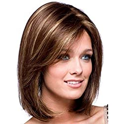 BESTUNG Short Mixed Color Synthetic Women Wig Medium Length Natural Looking Hair Wigs Light Brown and Light Blonde