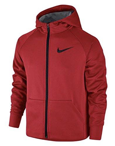 Nike Boy's Therma Full Zip Training Hoodie (X-LARGE, University Red/University Red/Black)