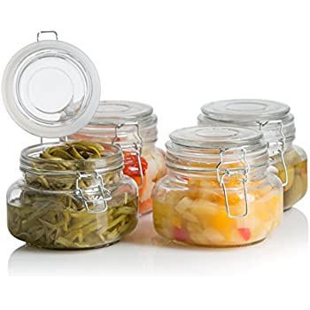 Klikel Square Glass Kitchen Storage Canister Jars   Crystal Clear Food  Storage Jars With Clear Lid