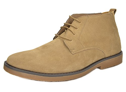 BRUNO MARC MODA ITALY CHUKKA Men's Classic Original Suede Leather Desert Storm chukka boots NATURAL SIZE 7.5
