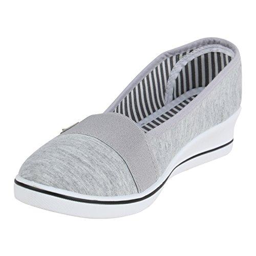 Stiefelparadies Damen Wedges Pumps Canvas Stoff Schuhe Keilabsatz Ballerinas Slip Ons Sportliche Kitten Heels Flandell Grau