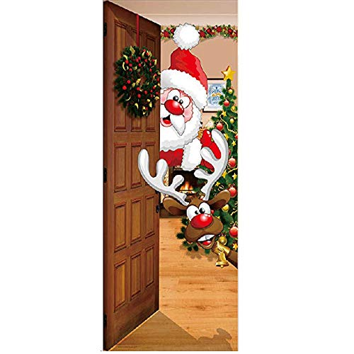 Christmas Window Clings Decal Wall Stickers - Christmas Front Door Banner Mural Sign Decor The Original Holiday Garage and Front Door Banner Decor. (Size : S)