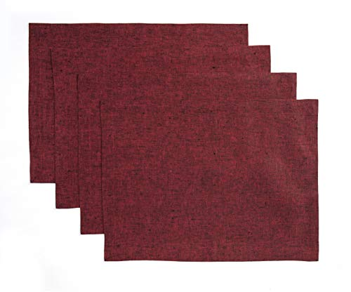 (Solino Home Pure Linen Placemats - Red Garnet, 14 x 19 Inch Set of 4 Athena - 100% Pure Linen Natural Fabric - Handcrafted Machine Washable )