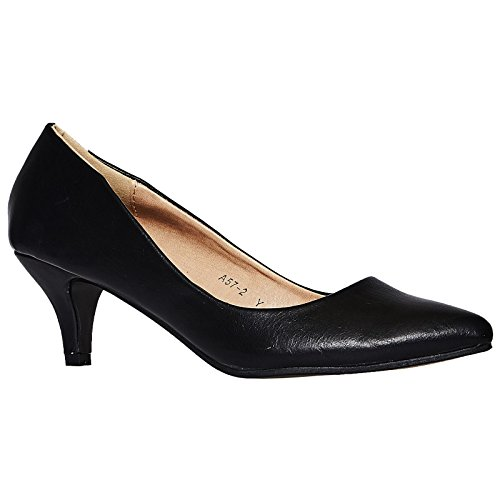 ByPublicDemand Miranda Womens Low Kitten Heel Slip On Pointed Toe Court Shoes Black Faux Leather m6ry2akl