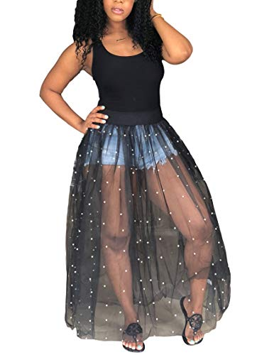 (LKOUS Women Summer Sexy Sleeveless Pearl Sheer Mesh Tulle Bubble Long Maxi Shirt Dress Sundress Plus Size)