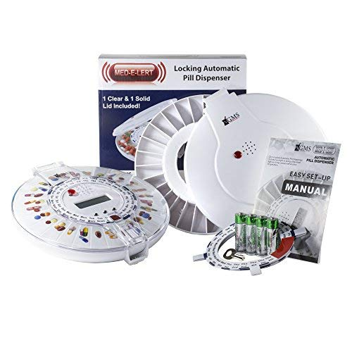 GMS Med-e-lert 28 Day Automatic Pill Dispenser 6 Alarms with 6 Dosage Rings and 1 Metal Key (Clear and Solid Lids Included)