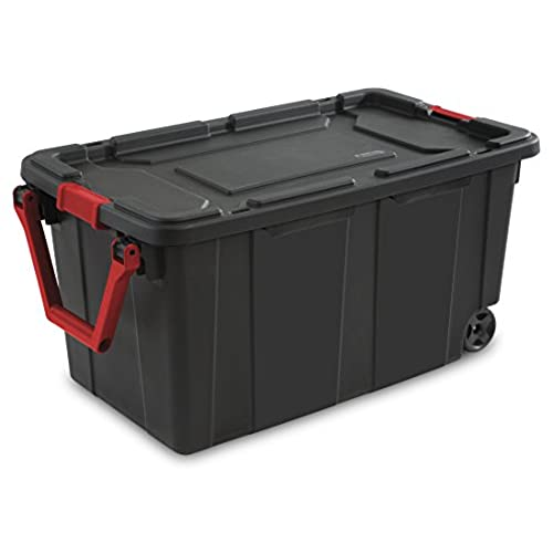 STERILITE 14699002 40 Gallon/151 Liter Wheeled Industrial Tote Black Lid u0026 Base w/Racer Red Handle u0026 Latches 2-Pack  sc 1 st  Amazon.com & Industrial Storage Bins: Amazon.com