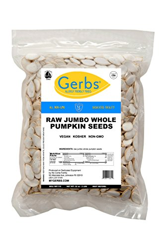 Jumbo Raw Whole Pumpkin Seeds, 2 LBS by Gerbs – Top 12 Food Allergy Free & Non GMO - Vegan & Kosher Certified - Premium In-Shell Pepitas from United States ()