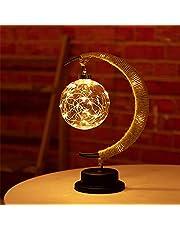 The Enchanted maanlamp, hangende led-maanlamp, nachtlampje met standaard, maanlamp, halve maan, bol, tafellamp voor thuis, feest, romantische vakantiedecoratie, USB/batterijvoeding (warm geel)