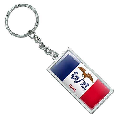 (Graphics and More Iowa State Flag Rectangle Chrome Plated Metal Keychain Key)