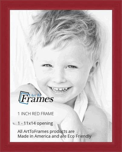 (ArtToFrames 11x14 inch Red Stain on Red Oak Wood Picture Frame, WOM0066-60823-YRED-11x14)