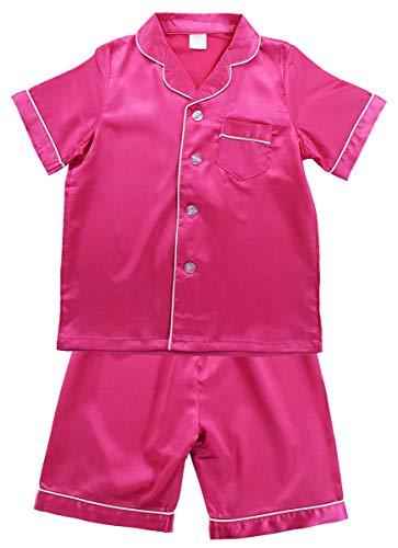 JOYTTON Kids Satin Pajamas Set PJS Short Sleeve Sleepwear Loungewear Fuchsia ()