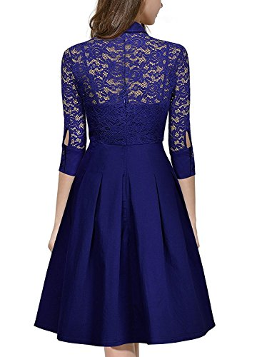 MRstriver Women's Vintage 1950s Style 3/4 Sleeve Black Lace Flare A-line Dress Bright -