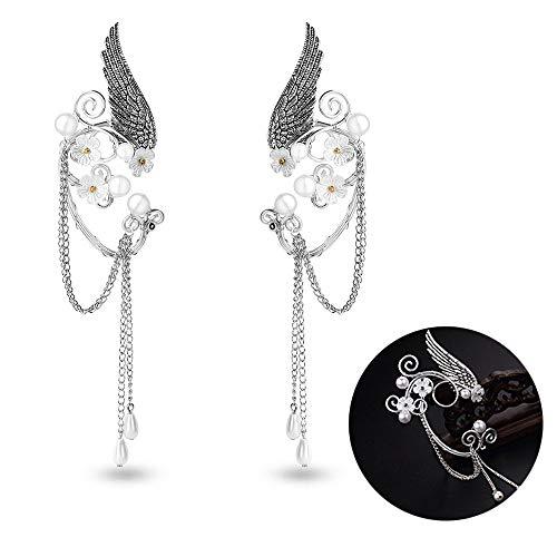 (Elf Ear Cuffs, Handmade Clip-on Earrings - Pearl Beads Wing Tassel Filigree Elven Earrings for Women Girls - Fantasy Fairy Halloween Costume, Cosplay, Wedding,)