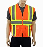 Safety Depot Class 2 ANSI Approved Safety Vest 4 Lower Pockets, 2 Chest Pockets with Pen Divider & High Visibility Reflective Tape 7038A (Orange, Large)