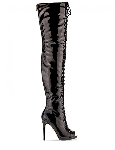 Womens High Patent Lamoda Boots PU Black Lace Heeled Womens in Thigh Up 7UgqXwOn5g