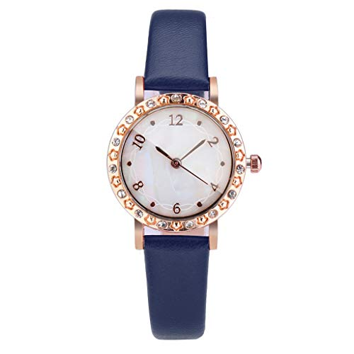 LUXISDE Watch Women Fashion Shell Dial Diamond Encrusted Convex Glass Simple Temperament Lady Watch Blue