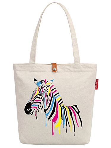 So'each Women's Zebra Animal Art Graphic Top Handle Canvas Tote Shopping Bag