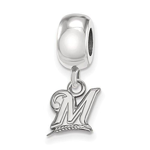 - Mia Diamonds 925 Sterling Silver Rh-plated MLB LogoArt Milwaukee Brewers XS Dangle Bead Charm for Charm Bracelet
