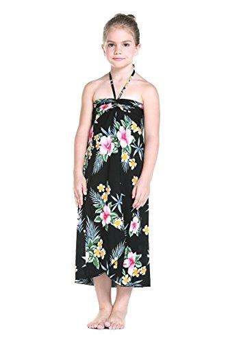 Girl Hawaiian Butterfly Dress in Hibiscus Black