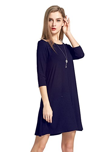 Modeway Women's Modal 3/4 Sleeve Loose Fit T shirt Dresses Tunic L NAVY AY05-3
