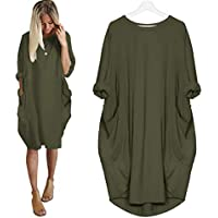 Dunuo Apparel Autumn Womens Pocket Casual Loose Tops Dress Crew Neck Oversized Asymmetric Fashion Plus Size S-5XL Fat Lady Sleeve Irregular Loose Dresses