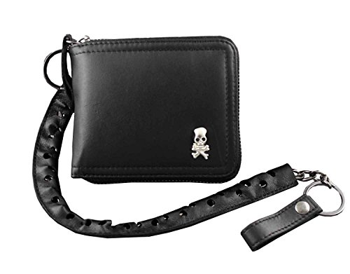 Men's Skull Chain Wallet Genuine Leather Biker Motorcycle Hip Hop by Threecattles
