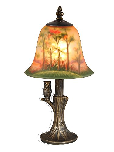 Dale Tiffany TA15149 Owl Hand Painted Accent Table Lamp, Antique Brass