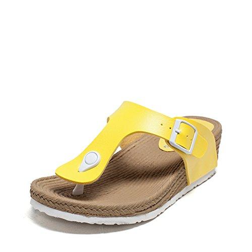 Moda Zeppe Sandali in estate/ spesse suole toe sandali e infradite donna-C Longitud del pie=22.3CM(8.8Inch)