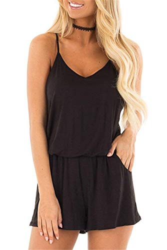 - coscoach Womens Summer Loose V Neck Spaghetti Strap Short Jumpsuit Rompers with Pockets (Medium, Black)