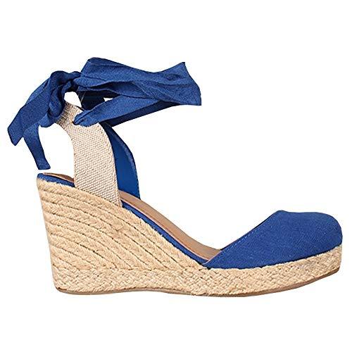 (Womens Lace Up Slingback Espadrille Platform Wedges Closed Toe Color Block Ankle Wrap)