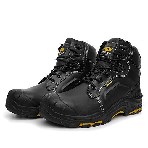 DRKA Men's Steel Toe Work Boots Waterproof Safety Shoes(18960-blk-43)