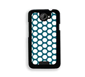 Polka Dots Pattern - Teal - Protective Designer BLACK Case - Fits HTC One X / One X+